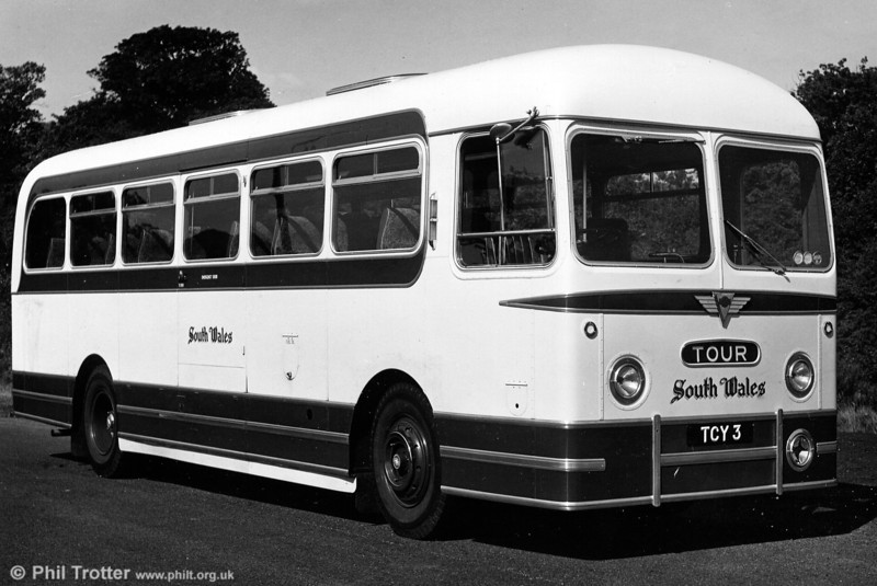 1040 (TCY 3), one of four AEC Reliance/Weymann DP41F dating from 1959. These had 'Fanfare' styling applied to bus bodies and were later downgraded for bus work.