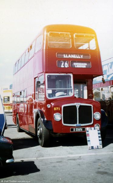 1962-built AEC Regent V/Willowbrook H39/32F 571 (11 BWN) on public display.