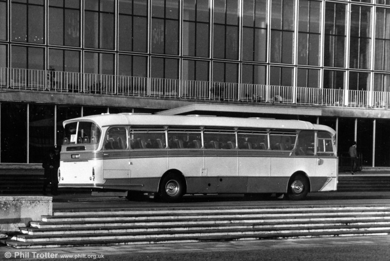Thomas Bros. 127 WNY 'Afan Venturer', a 1964 AEC Reliance/Harrington C49F seen at Swansea University. This later became SWT 157.