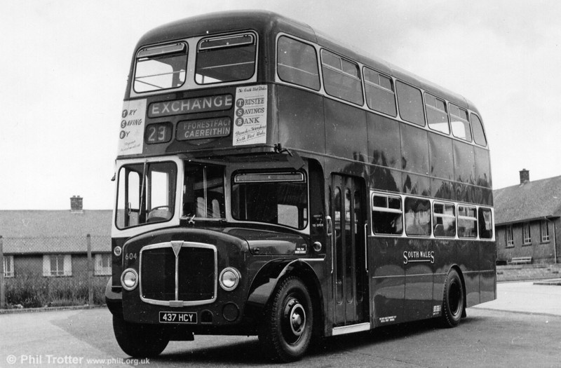 In 1968, AEC Regent V/Willowbrook H39/32F 604 (437 HCY) was painted in an experimental livery of BET red with white window surrounds.