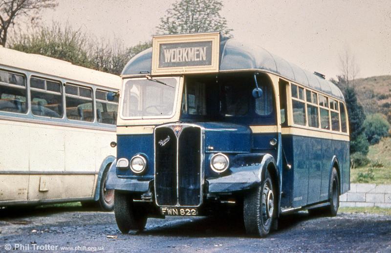 Former AEC Regall III/Willowbrook B34F 128 (FWN 822)  with Llynfi, Maesteg.