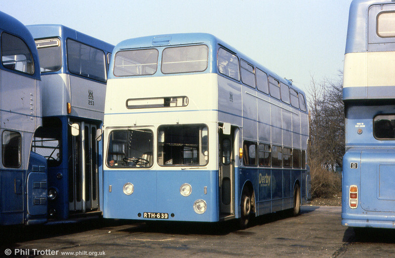 Former James Ammanford & SWT Leyland Atlantean PDR1/MCW L39/34F 1229 at Derby depot on 23rd February, 1980. The 1959-built bus had been purchased by Derby as fleet no. 63) to replace fire damaged vehicles; its previous owner had been City of Oxford from December 1970 to April 1976. Sadly, this historic vehicle wasn't saved for preservation.