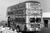 A rear view of advertising liveried AEC Regent V 571 (11 BWN).