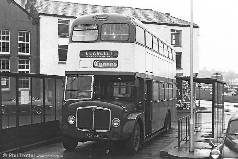 Former SWT 504 (RCY 346), a 1958 AEC Regent V/Weyman H39/32F seen at Carmarthen in service with Eynon's, Trimsaran.