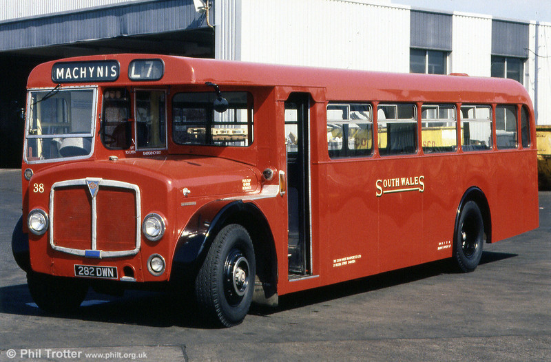 Sole survivor of the eight single deck Regent Vs/Roe B37F built for Llanelli is 38 (282 DWN). Seen here at Ravenhill, following a repaint in time for SWTs 75th anniversary in 1989.