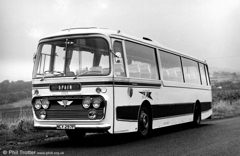 1054 (NCY 297F) was a 1968 AEC Reliance/Plaxton C44F seen when new.