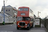 This is preserved AEC Regent 447 (MCY 407) of 1955 on home territory outside Llanelli rail station. The blue post (left) is an original traction pole from the Llanelli trolleybus system.