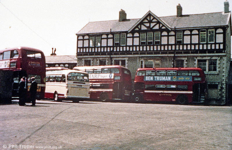 A general 1960s view of the yard at SWT's Brunswick St. depot, Swansea, including views of three AEC Regent IIIs/Weymann, that to the right being a lowbridge model with sunken upper deck side gangway and bench seats. The offices in the background were demolished when the depot was modernised in 1964.