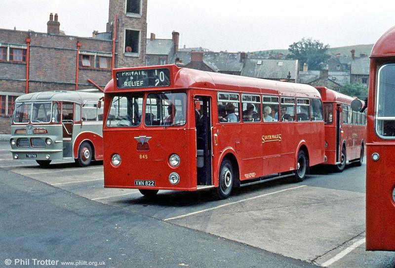 845 (XWN 822), a 1961 AEC Reliance/Park Royal B45F seen at Maesteg.
