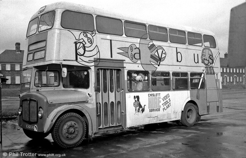 The last known survivor of SWT's RCY and SWN batch of Weymann H39/32F bodied AEC Regent V LD3RAs built in 1958/9 was 510 (RCY 352) which the PSV Circle records as having passed from SWT to Sykes the dealer in 1972, Mayfair Bingo, Doncaster 1973 and Kinsman, Bodmin later in 1973 until 1977. By 1983 the vehicle had become a playbus in Taunton where I caught up with it on February 26.