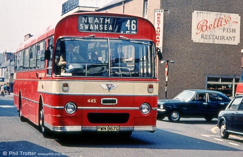 With their new style livery, the 1969 batch of AEC Reliances/Marshall B52F made quite an impression. Here's 445 (PWN 967G) - renumbered from 967 in 1970. And who could forget Belli's chippy - although a tendency to be a bit heavy with the vinegar, if my memory serves me correctly.