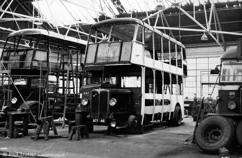 247 (ACY 46) was another 1937 AEC Regent/Weymann H30/26R, seen undergoing an extensive rebuild at Ravenhill.