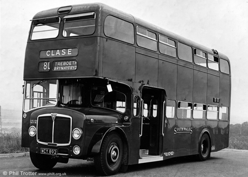 <DIV ALIGN=left>Bridgemasters were of an integral design; chassisless and with front and rear running units arranged in a similar fashion to the London Routemasters which are still to be seen today. Air suspension produced some lively rides, especially over poor roads! The second batch of SWT Bridgemasters, built in 1960-61, were of a very square, front entrance design and entered the fleet as 1208-1221. 1214 had been exhibited at the Commercial Motor show and boasted, amongst other detail differences, fluorescent interior lighting – considered to be very advanced on a road vehicle in the early 1960s. 1960 AEC Bridgemaster 1212 (WCY 892) with Park Royal H43/29F is seen here. Withdrawal came between 1969 and 1971 and thereafter the vehicles appeared with a number of dealers and other operators, notably a sister company to SWT, Yorkshire Woollen. Numbers 1204 and 1213 were later exported to the USA and may even still exist. 1209 and 1211 were exported to Canada, and reports indicate that they were eventually burnt out.</DIV>