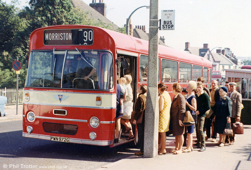 There's plenty of business for SWT's 972 (PWN 972G), an AEC Reliance/Marshall B52F as it loads up at Morriston Cross. Later renumbered 450, this vehicle remained in the fleet until April 1981.