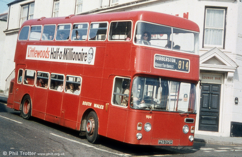 904 (PKG 376H) was a former Western Welsh Leyland Atlantean PDR1/Northern Counties H41/32F which came into the fleet with the Western Welsh Haverfordwest depot in 1971.