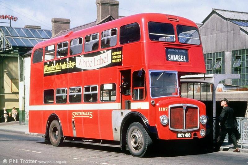 AEC Regent V/Weymann L30/26R 1197 (MCY 418) pictured at Ammanford.