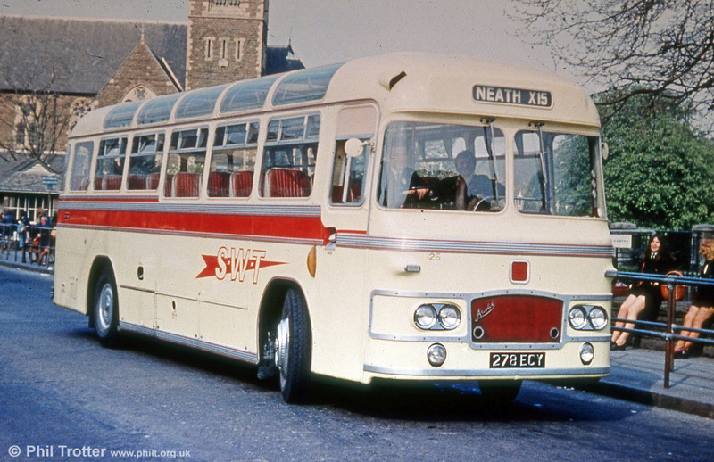 125 (278 ECY), a former United Welsh Bristol MW6G/ECW C39F dating from 1963.