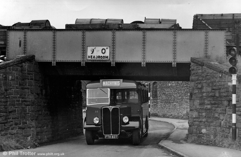18 (FTH 837) was an AEC Regal III/Bruce B35F dating from 1950 and taken over with Llanelly & District Traction in 1952; its low height was suited to routes in Llanelly Docklands.
