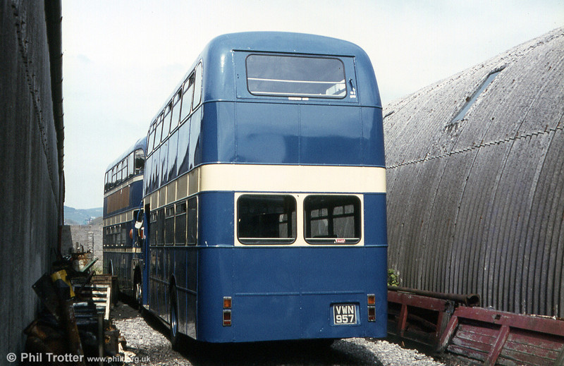 A rear view of 1960 AEC Regent V/Willowbrook H39/32F 541 (VWN 957) after it had passed to Llynfi, Maesteg in 1971.