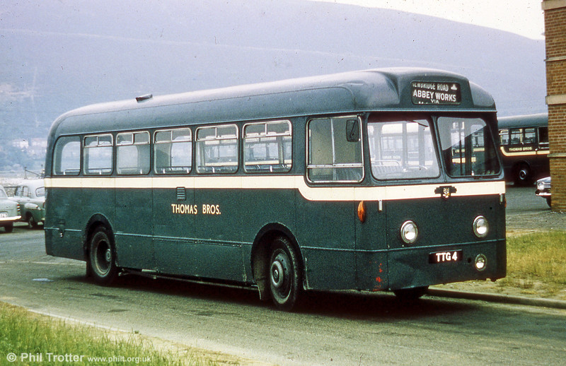 Thomas Bros (Port Talbot) Ltd. TTG 4 was a 1956 Leyland Tiger Cub/Weymann B44F which later became SWT no. 306.
