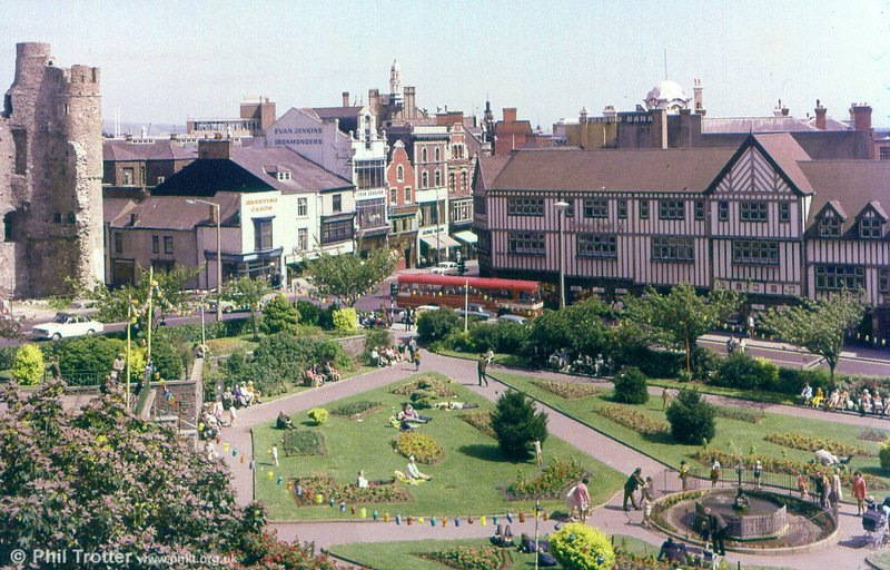 A commercial view of Castle Gardens, Swansea including one of the 1969 AEC Reliance/Marshall B52F 967-974.