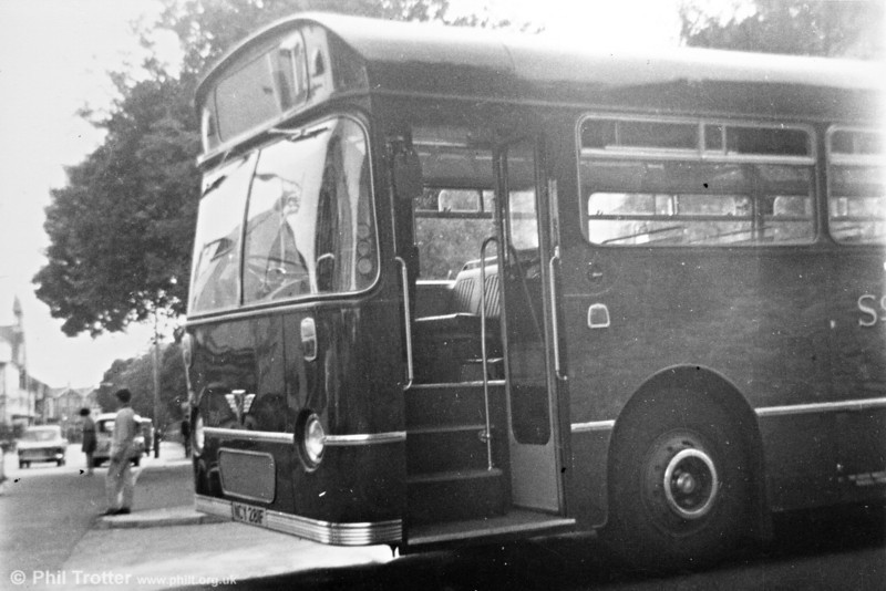 <DIV ALIGN=left>Brand new AEC Reliance/Willowbrook B53F 1950 (NCY 281F) leaves Brunswick Street depot. A change to the law in 1961 meant that future single deckers could be of 36 foot (11 metres) length, as distinct from the 30 footers which had been permitted since 1950. Although several of this length appeared elsewhere in the SWT fleet, the first bought specifically for Townhill appeared in 1968-69 and were numbered in the 1900s.  A total of fifteen of these attractive Reliances were purchased and all were equipped to a Townhill specification with heavy-duty axles, even though several of them were allocated to depots away from Swansea.  Certain of this type were used for an experimental livery incorporating white into the window surrounds and an innovative heating and ventilation system. Modern refinements such as heating elements laminated in the windscreens were intended to make drivers' lives easier and contribute to safety. Significantly, a couple of them later numbered amongst the last AEC single deckers in the fleet when withdrawn in the late 1970s.</DIV>