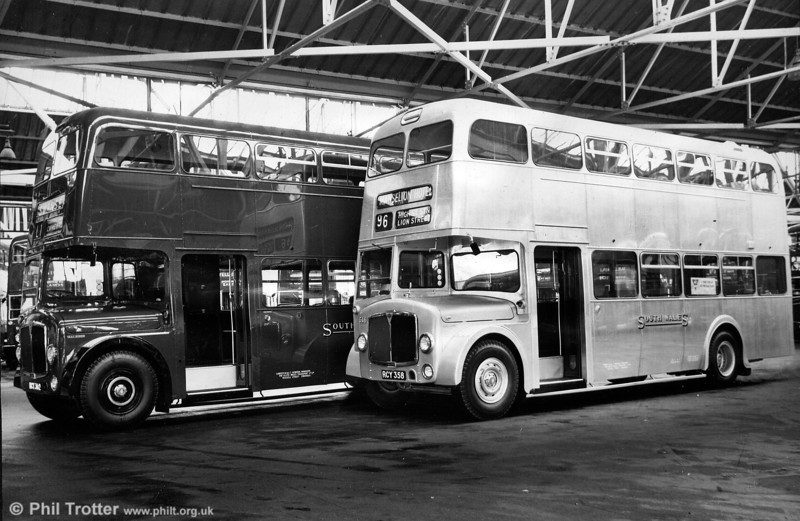 <DIV ALIGN=left>The late 'fifties were difficult times for Britain's bus companies. Rising wages, increasing car ownership and declining passenger numbers made for a difficult trading environment; reflecting the downward trend nationally, in 1957 SWT reported a loss of 500,000 passengers compared with the previous year. 1956 had been the year of the Suez crisis bringing with it steeply rising oil prices and fuel rationing. The company had found it necessary to curtail some services. Cutting costs became the order of the day and a number of bus companies, including SWT, experimented with unpainted vehicles; Swansea's famous 'silver buses' were born. The first six were part of the 1958 intake of twenty six Weymann bodied AEC Regent Vs. Coincidentally, these were the first front entrance double deckers in the SWT fleet. They certainly looked impressive when brand new, with their polished aluminium exteriors reflecting the sunlight! Painted and upainted examples of the 1958 AEC Regent V/Weymann H39/32F when new. Ventilators were later added to the front upper deck and lower saloon windows.</DIV>