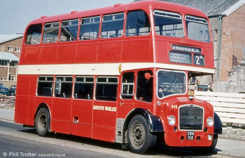915 (SWN 158) was a 1959 Bristol LD6G/ECW H33/27R waiting at Llanelli