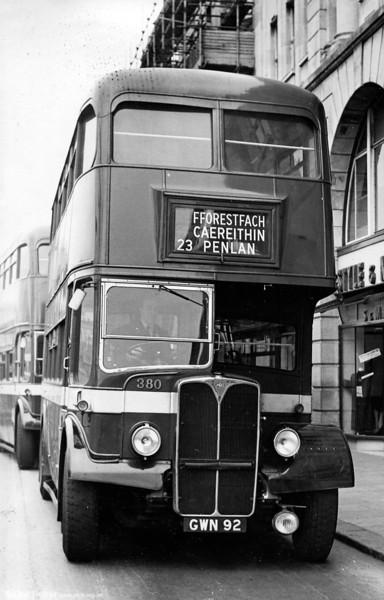 Seen at Castle Street, Swansea is 380 (GWN 92) an AEC Regent III/Weymann H30/26R of 1951.