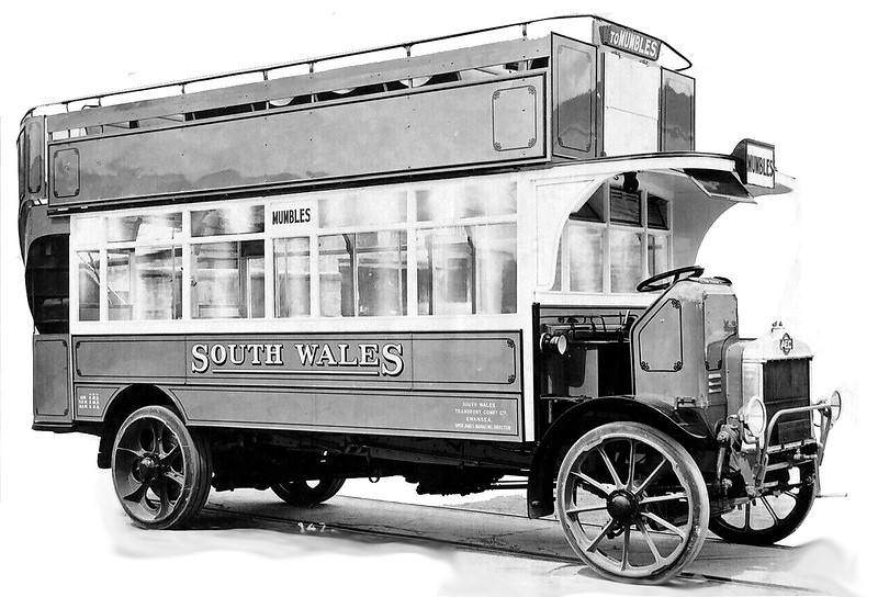 This is one of four AEC 403 'S type' double deckers delivered in 1922 with O54RO  bodies and registered CY 5548-5551.