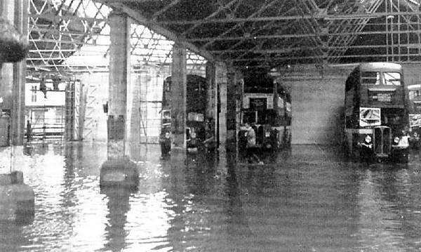 Flooding at Brunswick St. Depot on 4th July 1958.