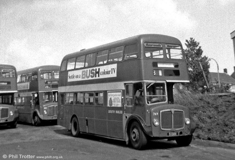 AEC Regent V/Willowbrook H39/32F 769 (9 BWN) at Ravenhill.