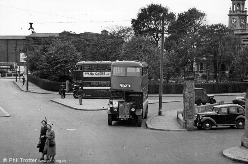 Seen on driver training work at Llanelli in preparation for trolleybus replacement is 208 (ACY 7), a 1937 AEC Regent/Weymann H30/26R, one of a batch of fifty originally purchased for tramway replacement in Swansea.