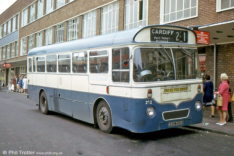 Former Western Welsh AEC Reliance/Marshall DP41F  202 (KKG202E), seen in Cardiff.