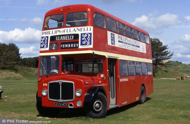 Preserved 1964 AEC Regent V/Weymann H39/32F 590 (423 HCY) at Pembrey Country Park.