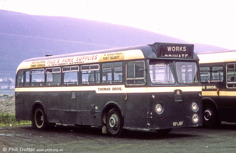 Thomas Bros (Port Talbot) Ltd. 117 LNY was a 1961 Leyland Tiger Cub/Park Royal B45F which later became SWT no. 320.