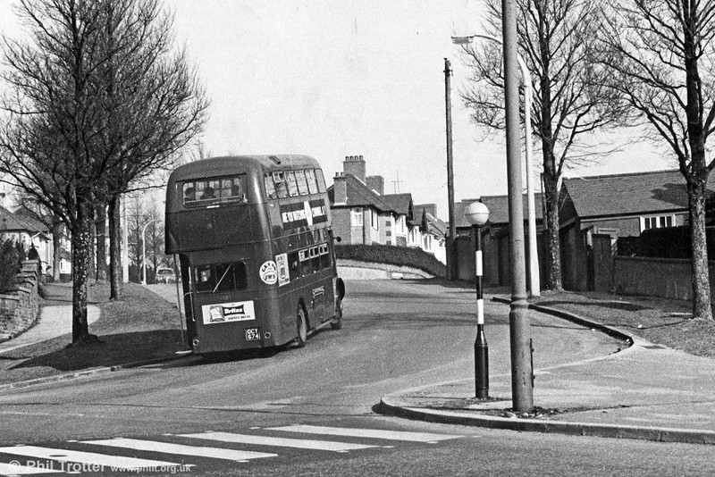 AEC Regent V/Willowbrook H32/26R 491 (OCY 674) at Broadway, Swansea starting the long climb to Townhill on service 40 to Morriston. By this time the 491-500 batch of Regent Vs had lost their cream waistbands; the batch eventually ended their working lives on local services in Llanelli.