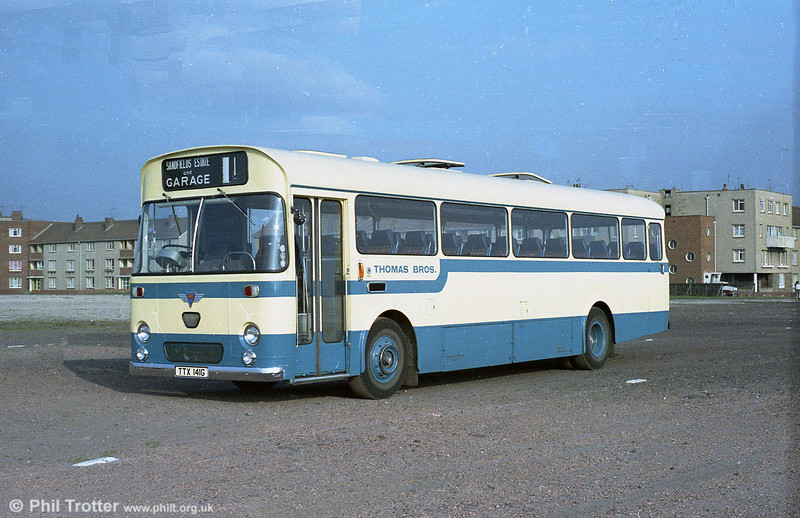 Thomas Bros. (Port Talbot) took delivery of this 1969 AEC Reliance/Marshall DP49F TTX 141G, seen here when new in the Thomas Bros. dual purpose livery. In 1971 it became no. 444 in the SWT fleet.