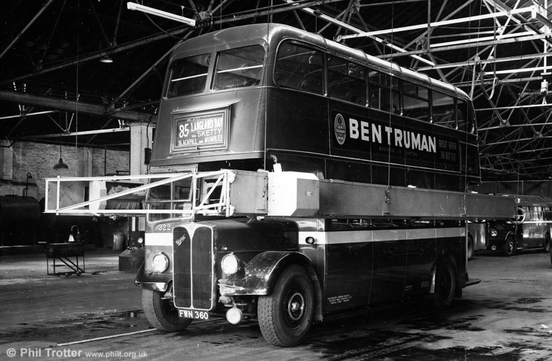 AEC Regent III/Weymann H30/26R 322 (FWN 360) in the wash at Brunswick Street. The apparent lack of water and the open windscreen indicate that this was a posed shot!