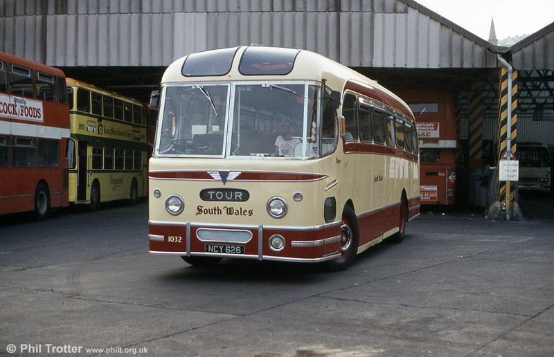 Preserved Weymann Fanfare C37F bodied Reliance 1032 (NCY 626) at Brunswick St. depot in August 1984.