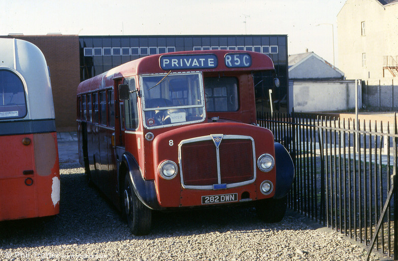 The surviving single deck AEC Regent V/Roe B37F seen when at the National Industrial Museum of Wales in Cardiff.<br /> The buses remained in the SWT fleet until 1972 after which they were sold to smaller operators and contractors including one which operated in London's docklands. The first two, however, were retained by SWT as staff buses, painted in blue and yellow liveries.