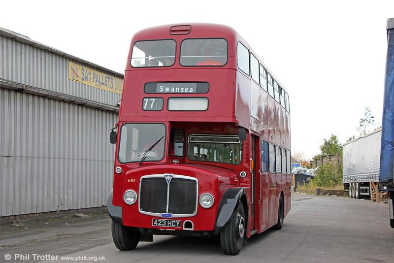1964 AEC Regent V/Weymann H39/32F 590 (423 HCY) at Swansea Bus Museum on 25th October 2015.