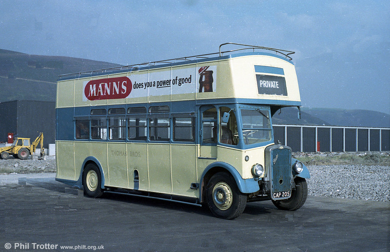Thomas Bros. (Port Talbot) ran this 1940 vintage former Brighton, Hove & District Bristol K5G with ECW O30/26R bodywork on seafront services at Aberavon, near Port Talbot. After withdrawal in 1971 the bus was exported and is still in existence at Hastings, near Ontario, Canada.