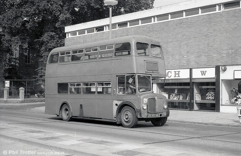 During its final months as a training vehicle, AEC Regent V/Willowbrook H32/28R 498 (OCY 681) is seen on Kingsway, Swansea. 29th July, 1973.
