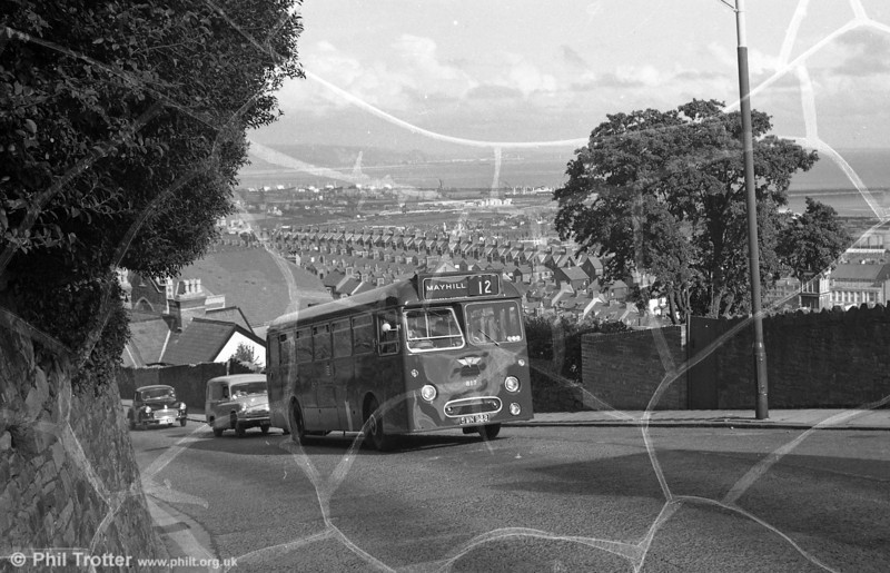 From a damaged negative, brand new 1960 AEC Reliance/Park Royal B45F 817 (SWN 988) - later 1817 - climbing Townhill.