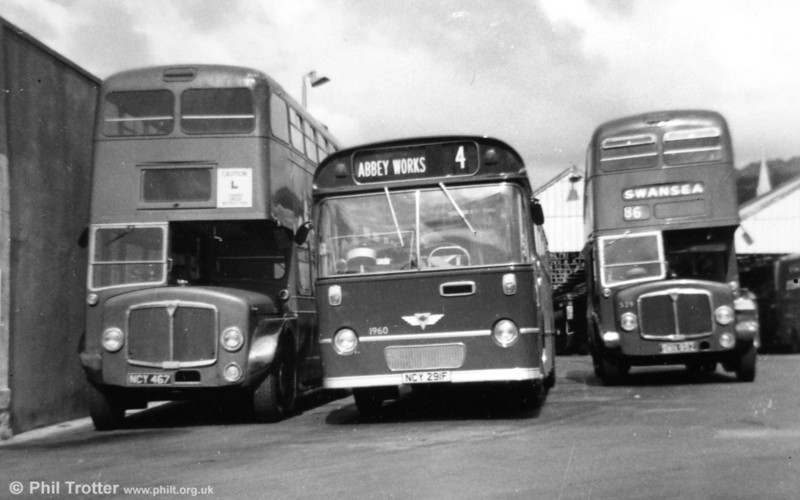 <DIV ALIGN=left>As is often the case, one of the batch (476, NCY 467 of 1956), became something of a celebrity when it appeared in the 1962 Peter Sellers film, 'Only Two Can Play'. For some reason, the same bus also appeared in a company promotional film and in 1967 was chosen for continued service as a driver training vehicle. After all this the bus passed to Port Talbot Borough Council as a mobile workshop where it lasted until the mid seventies - it was later scrapped, but would have been an excellent preservation candidate! AEC Regent V/Weymann training vehicle NCY 467, formerly fleet no. 476, AEC Reliance/Willowbrook B53F 1960 (NCY 291F) and AEC Regent V/Weymann 529 (SWN 992) and Brunswick Street.</DIV>