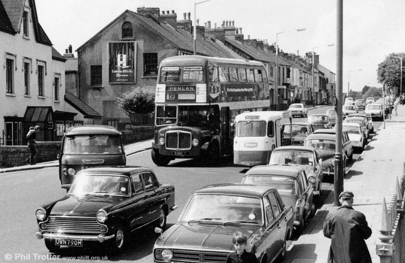Plenty of 1960s/70s vehicles in this shot, including 1962 AEC Regent V/Willowbrook H39/32F 765 (ex-565) (5 BWN).
