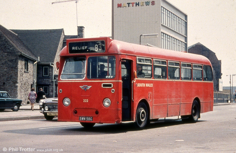 222 (SWN 986), a 1960 AEC Reliance/Park Royal B45F, formerly numbered 815.