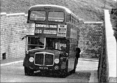 1959 AEC Bridgemaster/Park Royal H41/31R 1202 (RCY 372) on the climb to Grenfell Park, shortly after the service started in 1963.