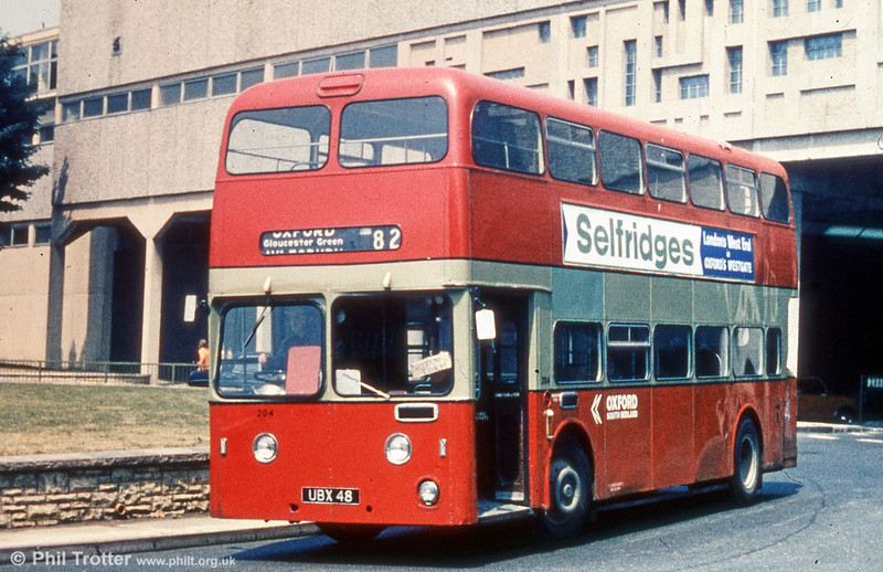 Former James Leyland Atlantean PDR1/Weymann L39/34F 1235 (UBX 48) in a later life with City of Oxford Motor Services.